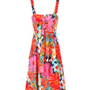 ISO Mara Hoffman Mei Floral Lace-Up Dress
